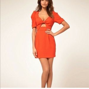 Asos Orange Cut Out Bow Front Mini Dress Size 2